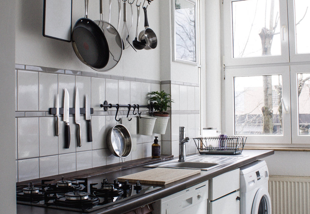 Magnetic knife rack: a modern kitchen with a magnet knife holder
