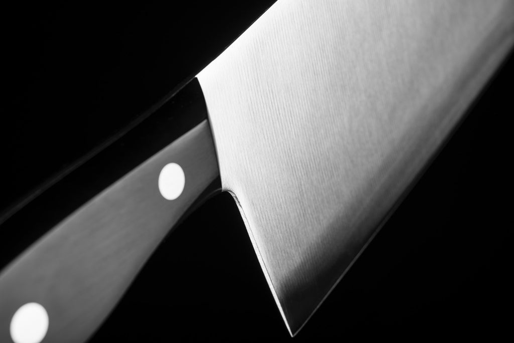 Knife tang: closeup on a knife's handle