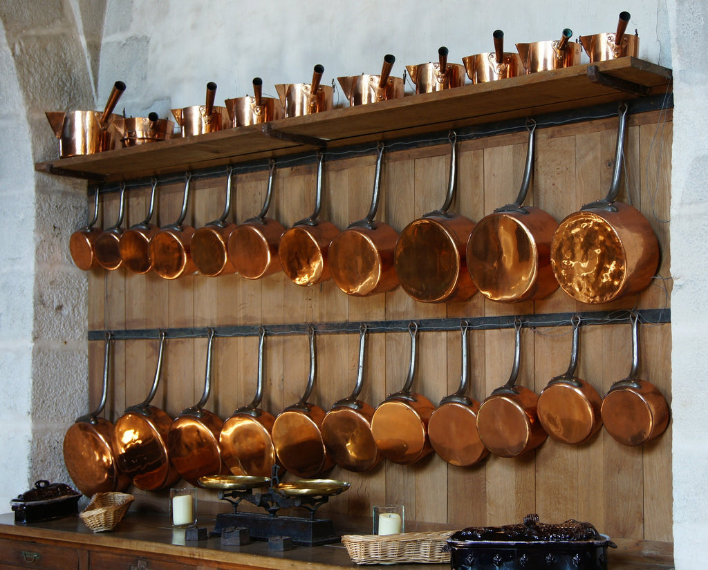 What is a saucepan: copper saucepans hung on a wall