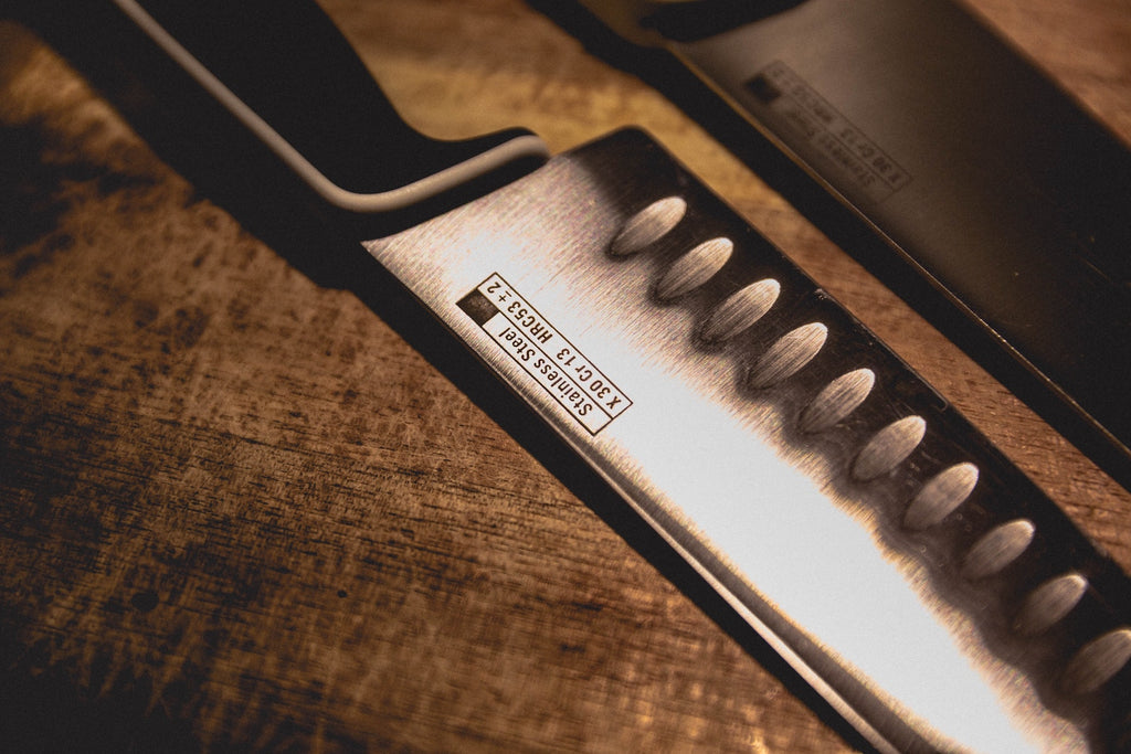 Chefs knives: closeup on knife blades