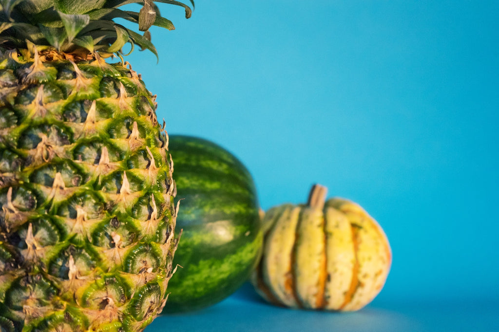 Best kitchen knives: a pineapple, watermelon, and squash