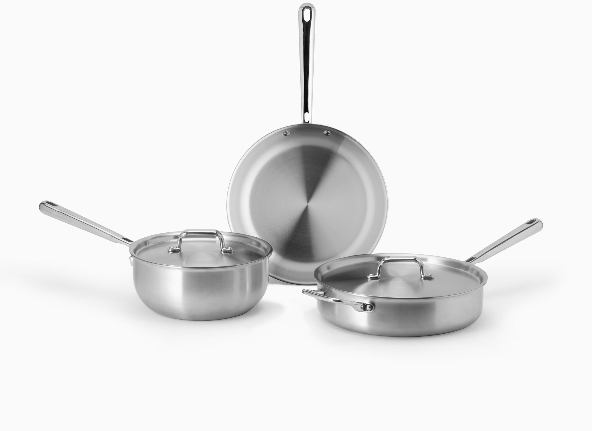 Misen starter cookeware set with saucier, skillet, and saute pan