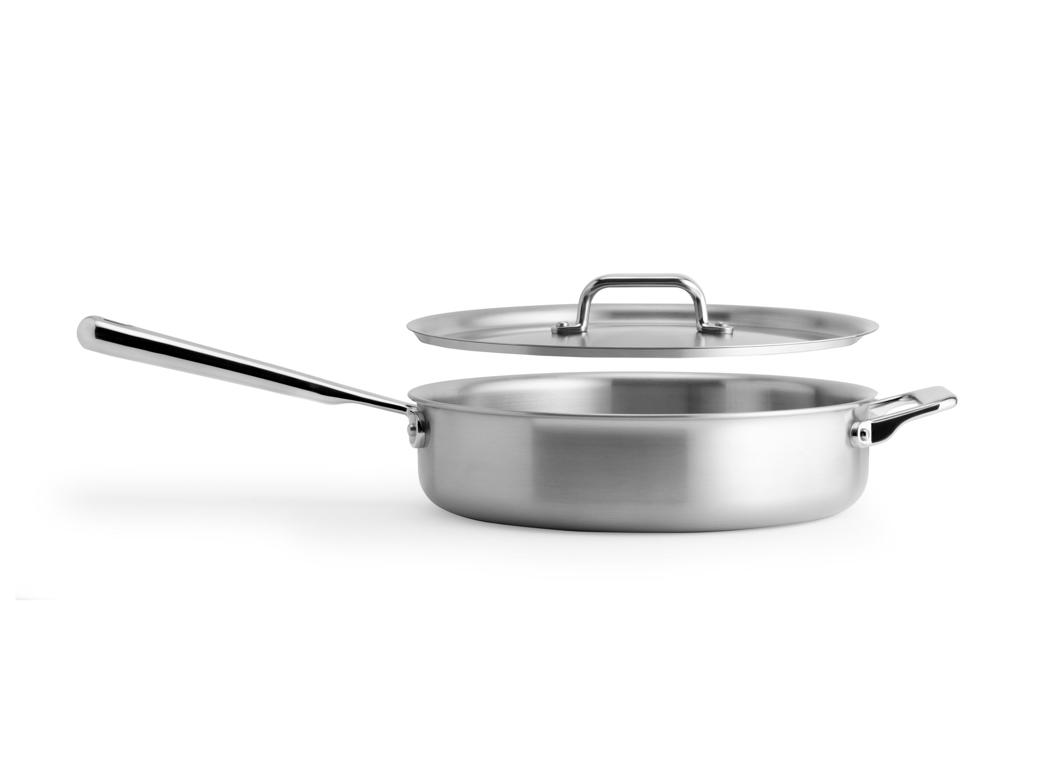 The Misen 3 QT Saute pan is shallow enough to sear and brown, deep enough to pan fry, and wide enough to braise, pouch and steam.