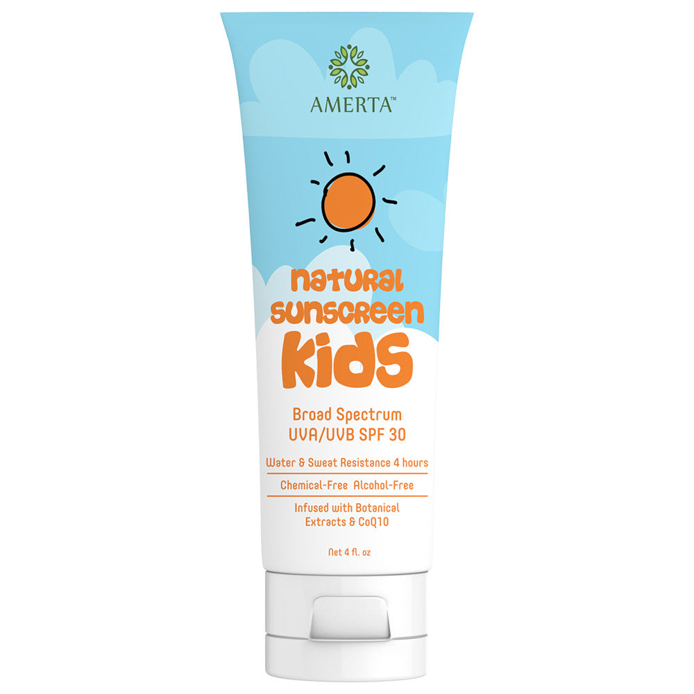 Amerta® All Natural Sunscreen for Kids, Broad Spectrum UVA/UVB SPF 30, Water & Sweat Resistant