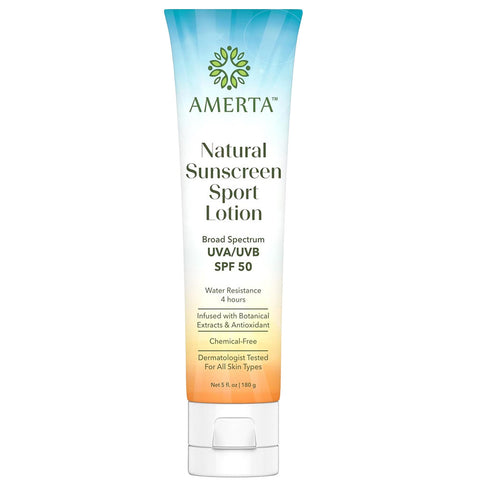Amerta® Natural Sunscreen Sport Lotion, Broad Spectrum, SPF 50, Water & Sweat Resistant