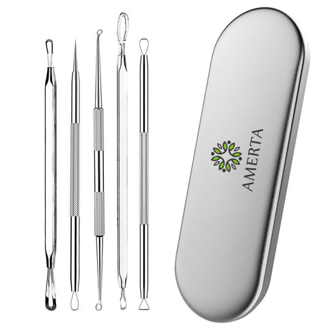 Amerta® Blackhead & Blemish Remover, Pimple & Acne Extractor 5-Piece Tool Kit