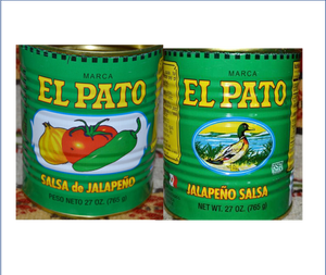 2 EMPTY Green EL Pato Mexican Salsa Sauce Cans 27 Oz. for Crafts~Decor~Planters Mucho Otro ~ Gifts ~ Games- Mucho-Mex