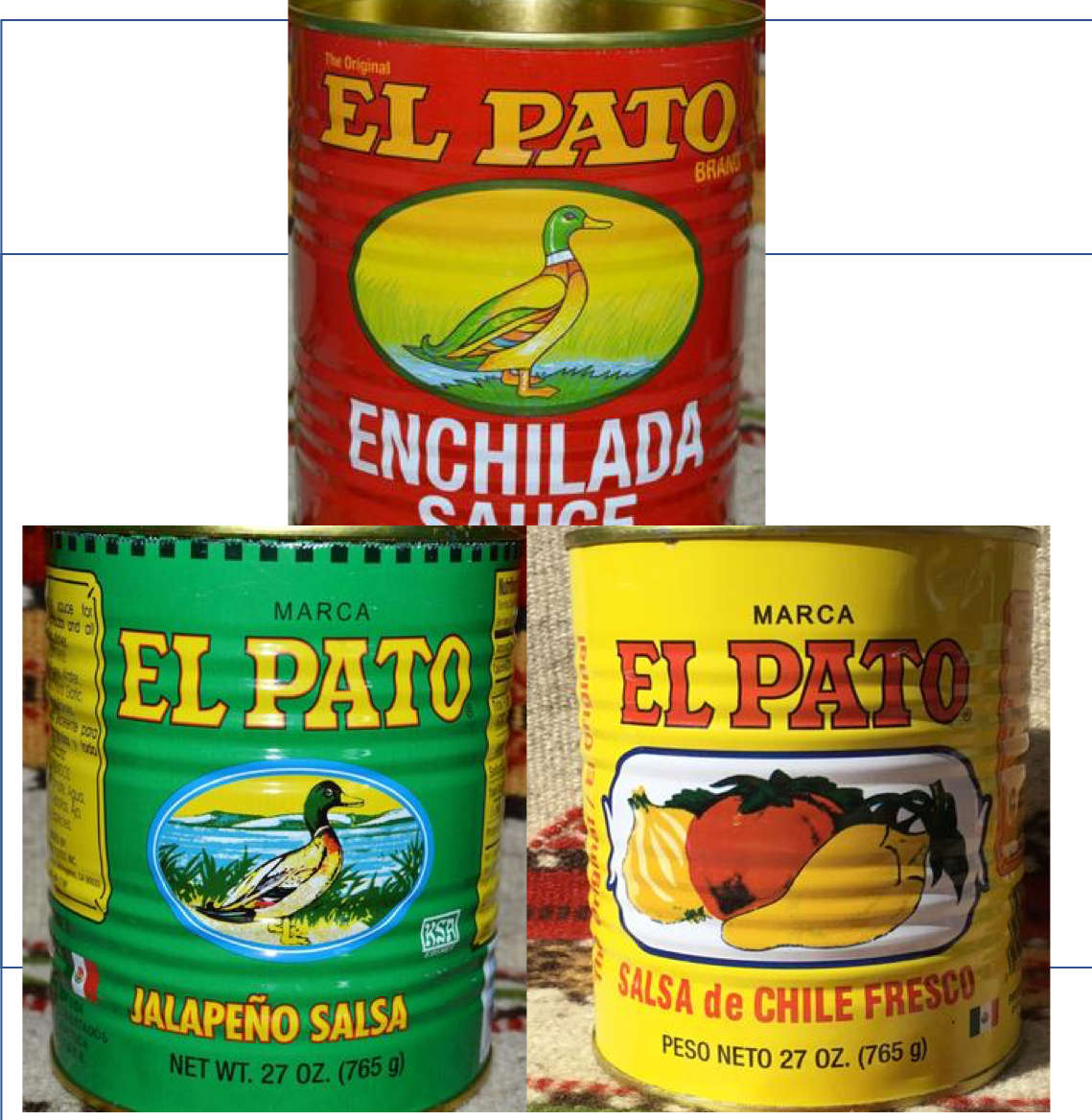 6 Empty LARGE El Pato Mexican Salsa Sauce Cans ~ 27 Oz. Crafts~Decor Mucho Otro ~ Gifts ~ Games- Mucho-Mex