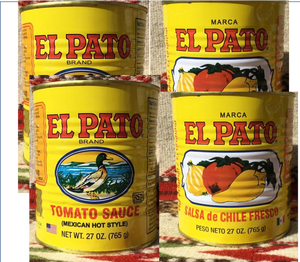 4 Empty YELLOW El Pato Mexican Sauce Cans ~ 27 Oz. For Crafts~Decor Mucho Otro ~ Gifts ~ Games- Mucho-Mex