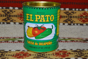 4 EMPTY Green EL Pato Mexican Salsa Sauce Cans 27 Oz. for Crafts~Decor~Planters Mucho Otro ~ Gifts ~ Games- Mucho-Mex