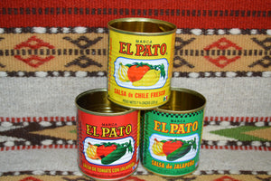 6 Empty EL PATO Cans ~ 7 3/4 Oz. for Crafts~Decor~Parties~Planters Mucho Otro ~ Gifts ~ Games- Mucho-Mex
