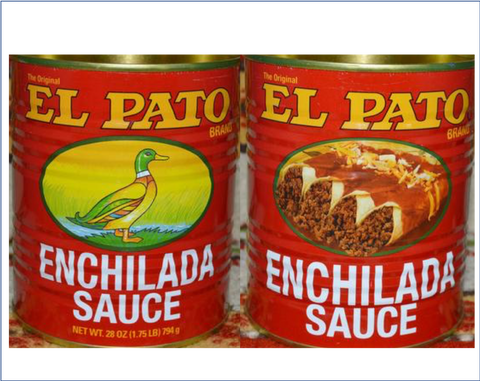 2 Empty RED El Pato Mexican Enchilada Sauce Cans ~ 28 Oz. For Crafts~Decor Mucho Otro ~ Gifts ~ Games- Mucho-Mex