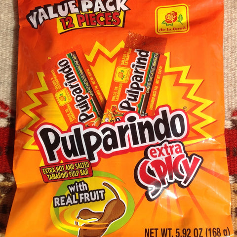 12 Pcs. PULPARINDO XTRA HOT Tamarind Pulp Bar w/Real Fruit Candy ~ Sweets ~ Desserts- Mucho-Mex