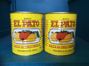 2 Empty YELLOW El Pato Mexican Sauce Cans ~ 27 Oz. For Crafts~Decor Mucho Otro ~ Gifts ~ Games- Mucho-Mex