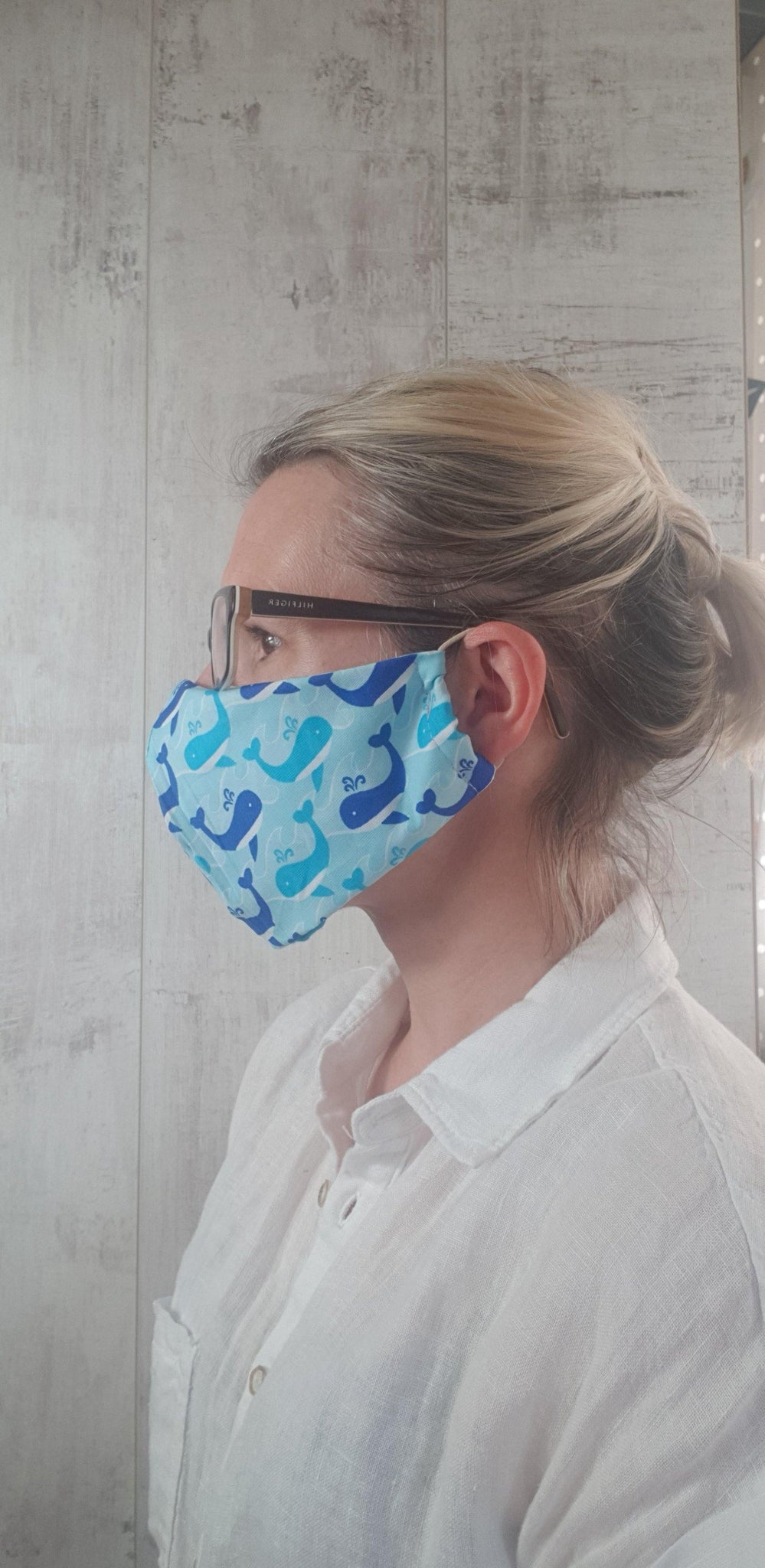 Whales - Bright Face Mask with Filter Pocket and Adjustable straps.