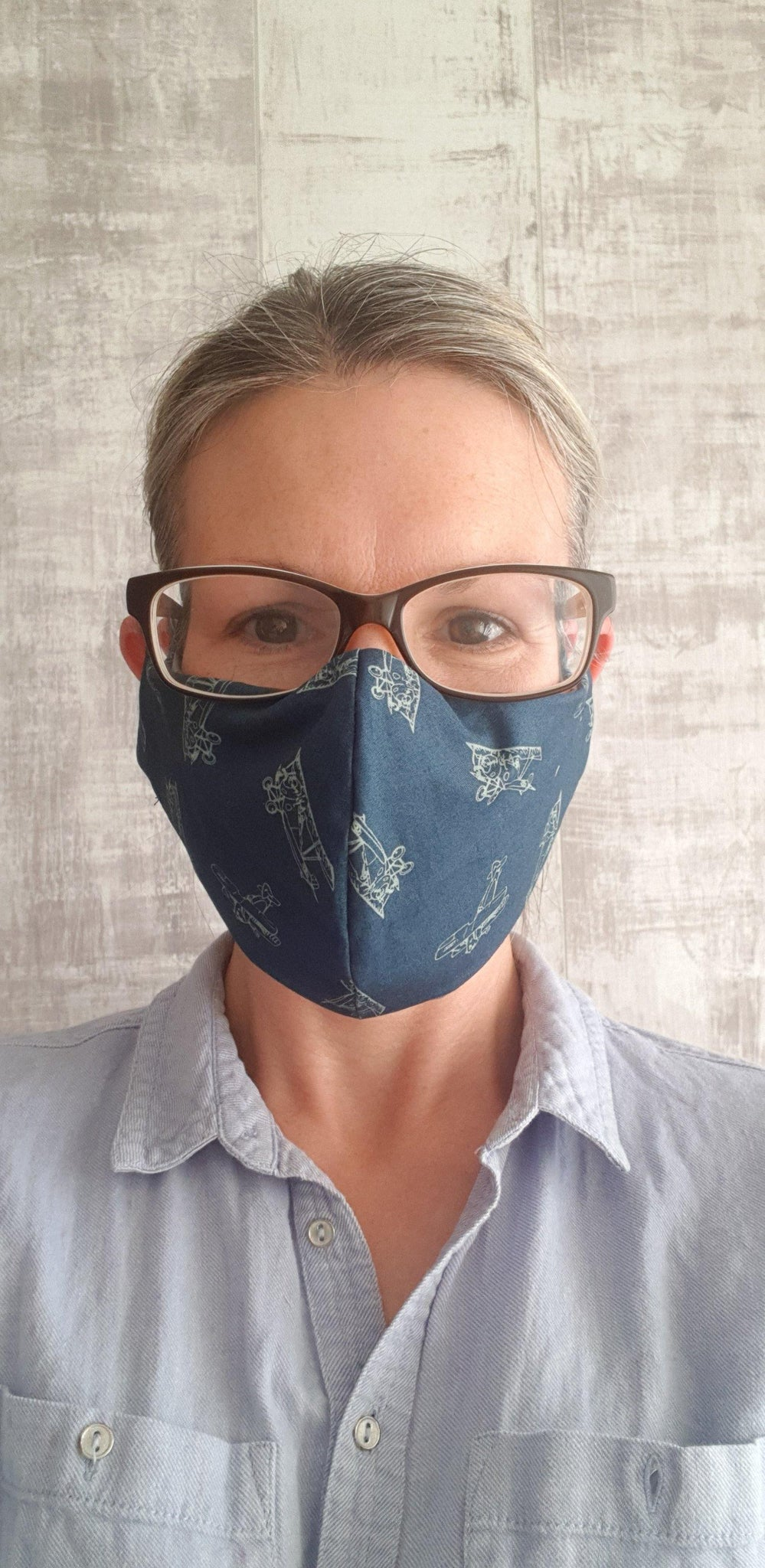 Navy planes fabric face mask.