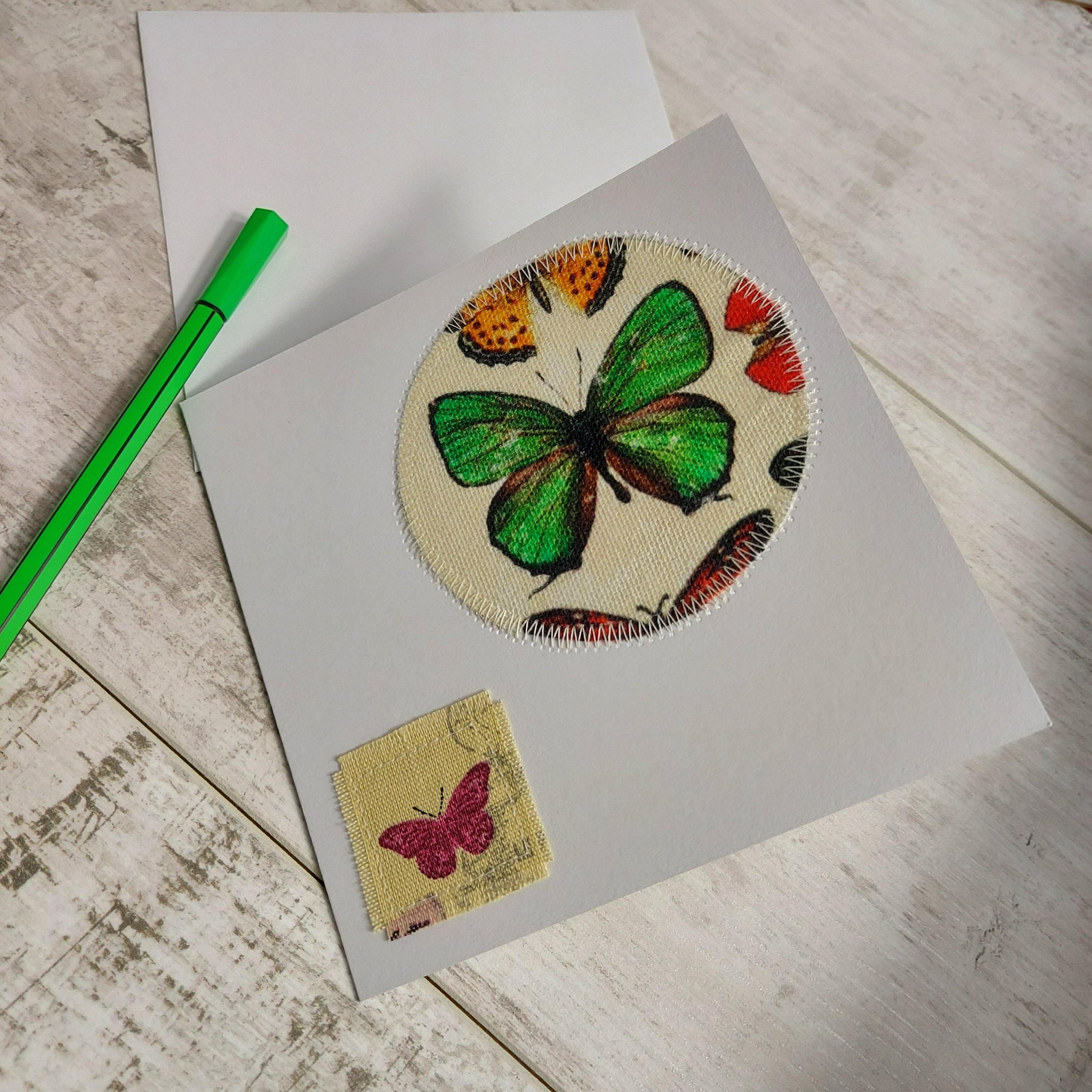Green Butterfly Pack 💌 Greetings Card Pack of 2