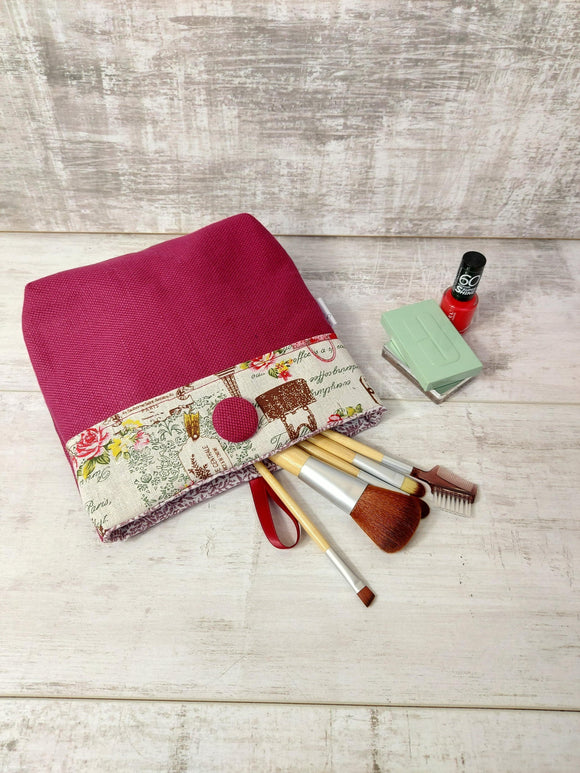 Button Pouch In Plum and Vintage Print - Olganna