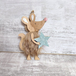 Wooden Mouse Decoration