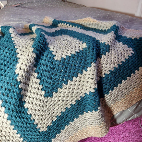 Crochet Throw Blue Mist, Oatmeal, Winter Grey - Olganna