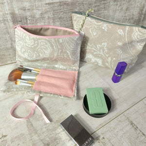 Grey and Pink Make Up Bag