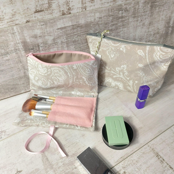 Grey and Pink Make Up Bag - Olganna