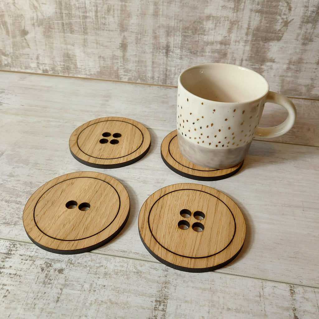 Set of 4 button coasters