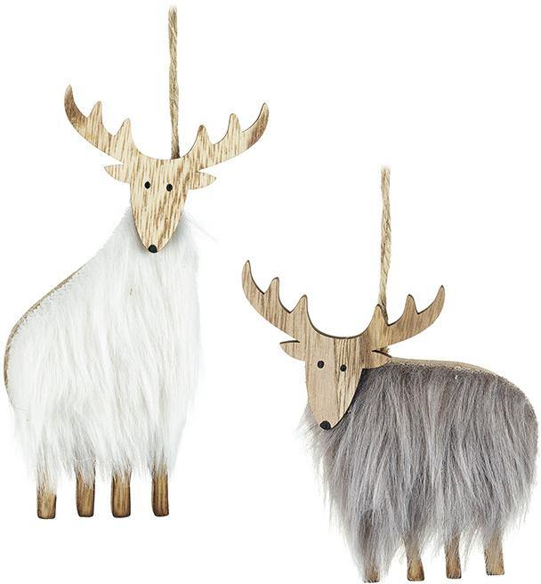 Furry Wooden Reindeer Decoration