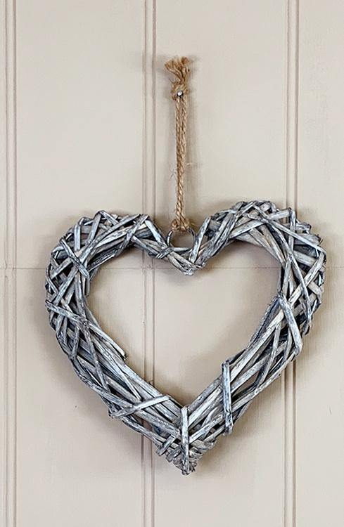 Rattan Heart in Grey Wash - Olganna