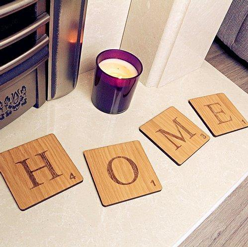 HOME Scrabble tiles Coasters