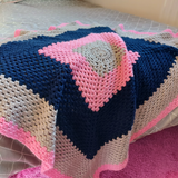 Crochet Throw Navy, Grey and Pink - Olganna