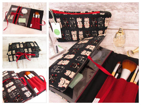 Lucky Cat, Make up Wrap, Cat lover gift, Black Cat, Make Up Bag, Cosmetics Pouch