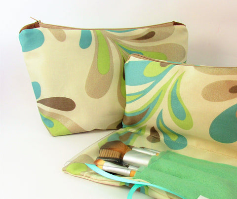 Make Up Bag Set, Make up bag with brushes Holder, Toiletry bag for ladies, What to get my daughter? Practical Gift, Aqua Swirl