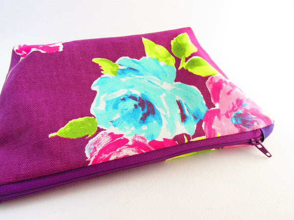 Make up bag, Large cosmetics bag, floral bag, gift for xmas, purple bag, gift ideas for girlfriend
