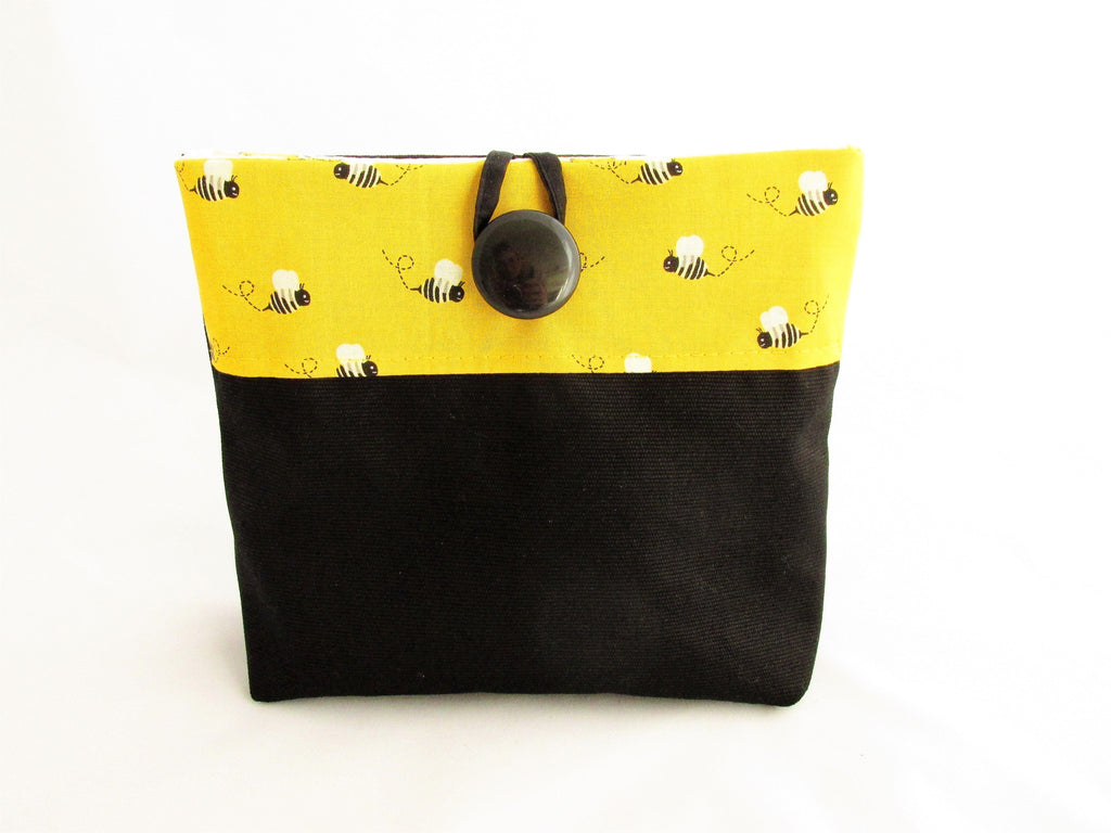 Make Up Pouch Bee Yellow and Black Fabric Cosmetics Bag