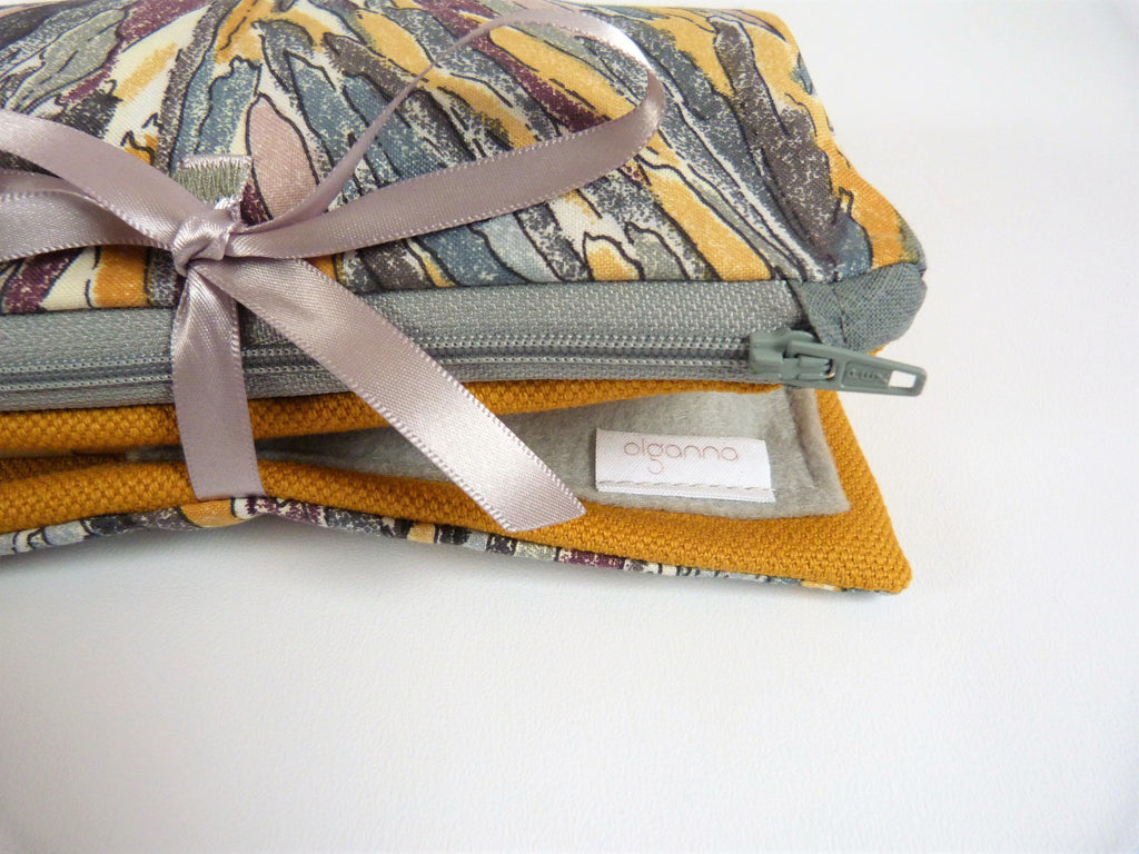 Mustard and Grey Make up Bag with Zipped part and Brushes section. Bestselling travel gift. UK Handmade, Gift Idea for Sister
