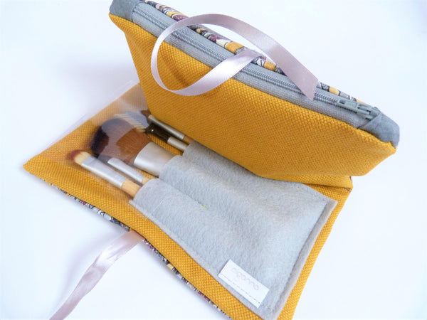 Mustard and Grey Make up Bag with Zipped part and Brushes section. Bestselling travel gift.