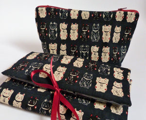 Lucky Cat Make Up Bag, Large Cosmetics Bag with zip fastening.