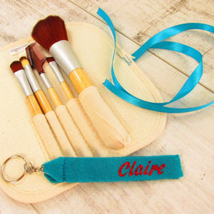blue Personalised make up brushes gift set.