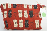 Lucky Cat Make Up Bag, Large Cosmetics Bag with zip fastening. - Olganna
