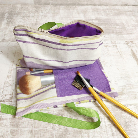 Zip Wrap Make up Bag in Green and Lilac Modern Stripe Canvas - Olganna