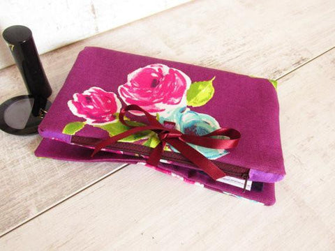 Make Up Bag with brushes pocket, UK Handmade, Gift Idea for Sister, Ideal for travel.
