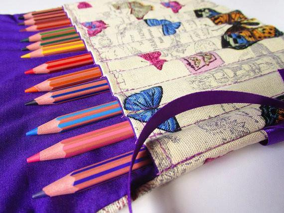 Pencil Roll with individual slots, handcrafted pencil organiser, Adult colouring is a thing now!