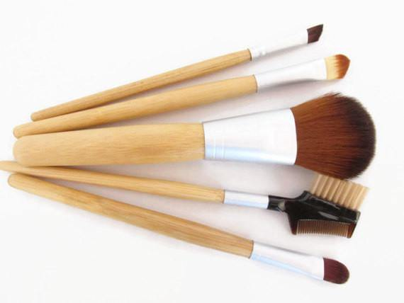 Make up brushes with bamboo handle.