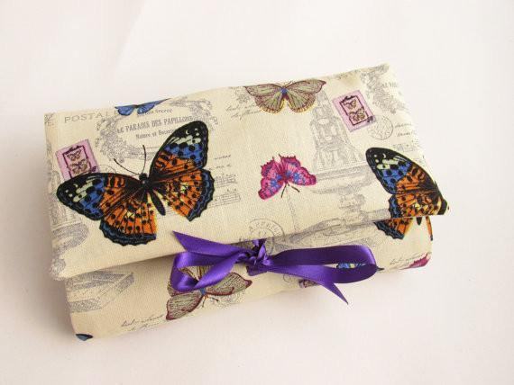Vintage Print Butterfly Make Up Case, Best Friend Gift, Bridesmaid Gifts - Olganna