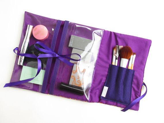 Purple make up bag with clear pockets