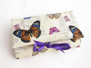 Cream and purple make up wrap, unique style, vintage with butterflies