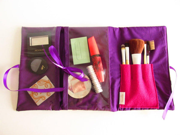 purple make up bag with see through pockets