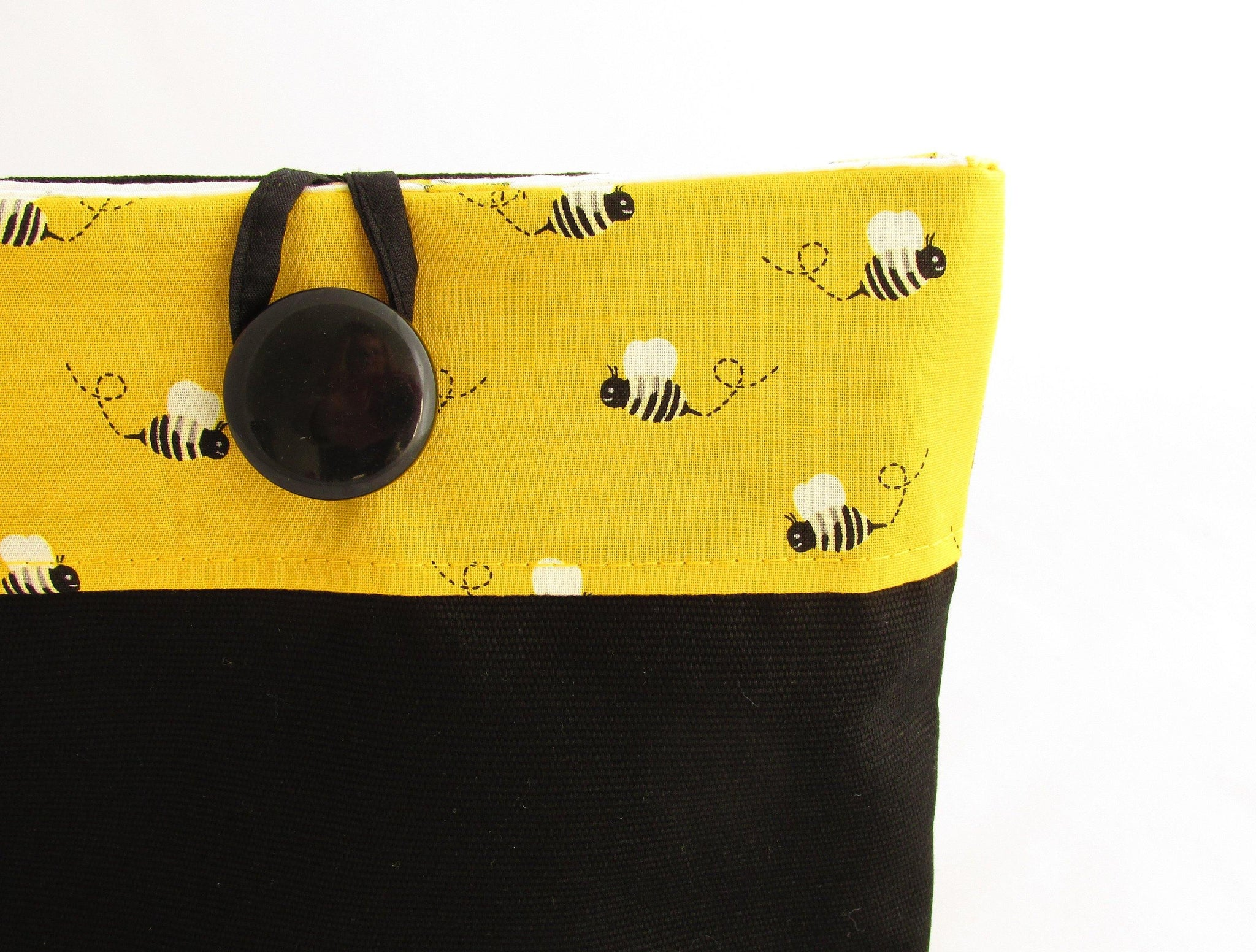 Yellow and black bee pouch bag with big button