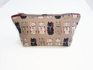 Lucky cats Make Up Bag in red, taupe and black